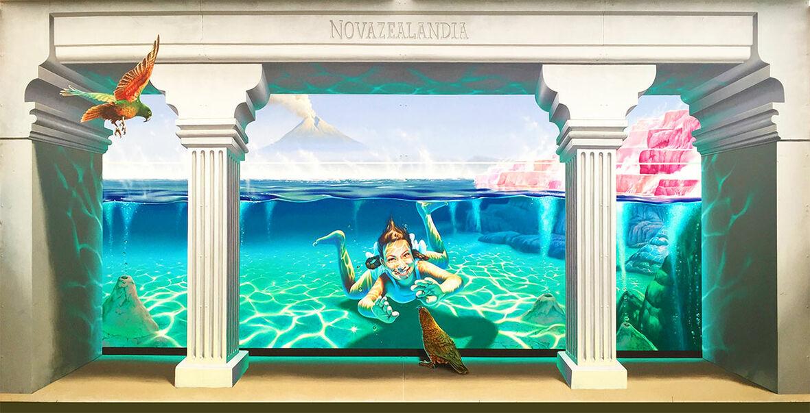 Novazealandia, by Tom Cosic, emerged as a clear winner in the 2017 Rotorua Mural Symposium