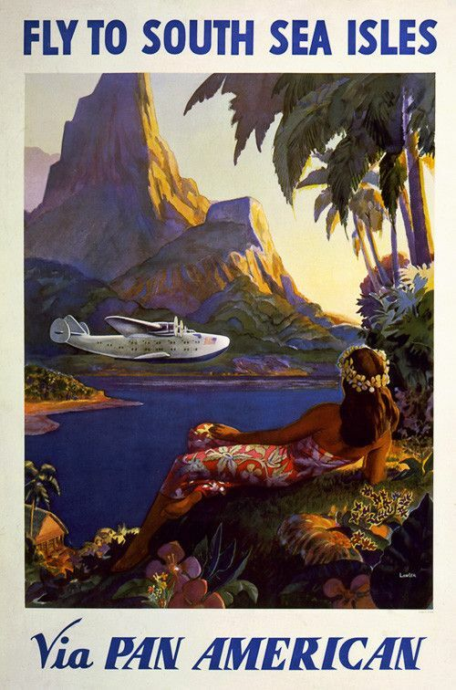 This is a forties or early fifties vintage Americana poster for the South sea isles