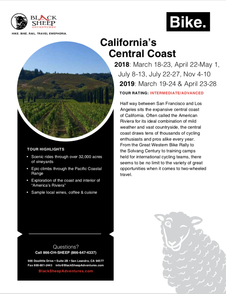 California Central Coast itinerary, lodging, and inclusions PDF