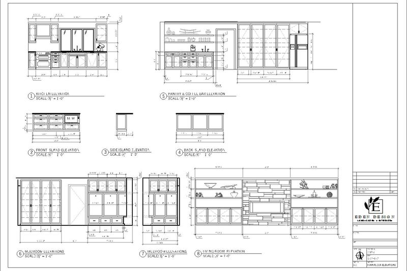 autocad drawings showing elevation views of a full kitchen renovation, mudroom and living room custom built-ins
