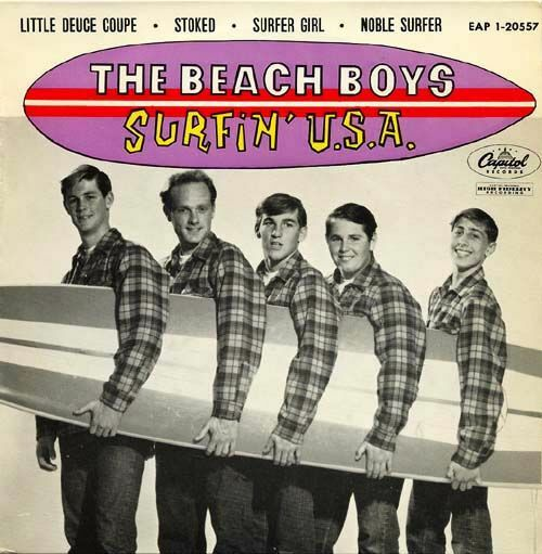 The cover of the Beach Boys single Surfin' USA which was released on Capitol Records in 1963