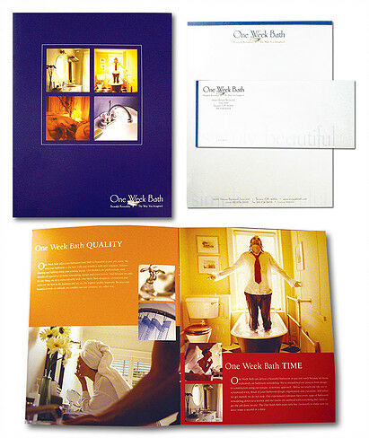 Sample of brochures created by RSC Marketing for One Week Bath.