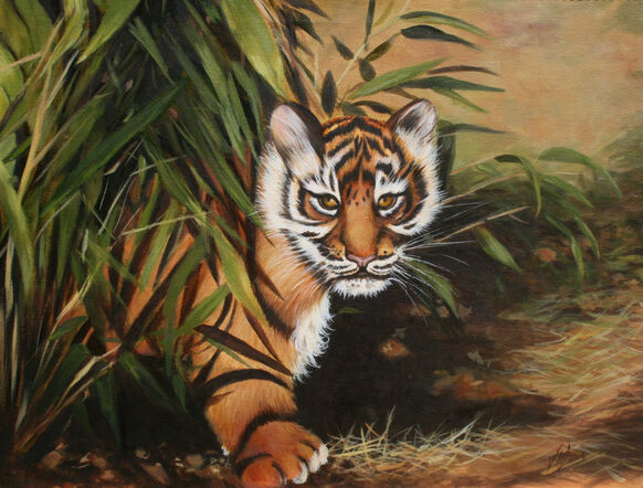 oil painting Sumatran tiger in forest