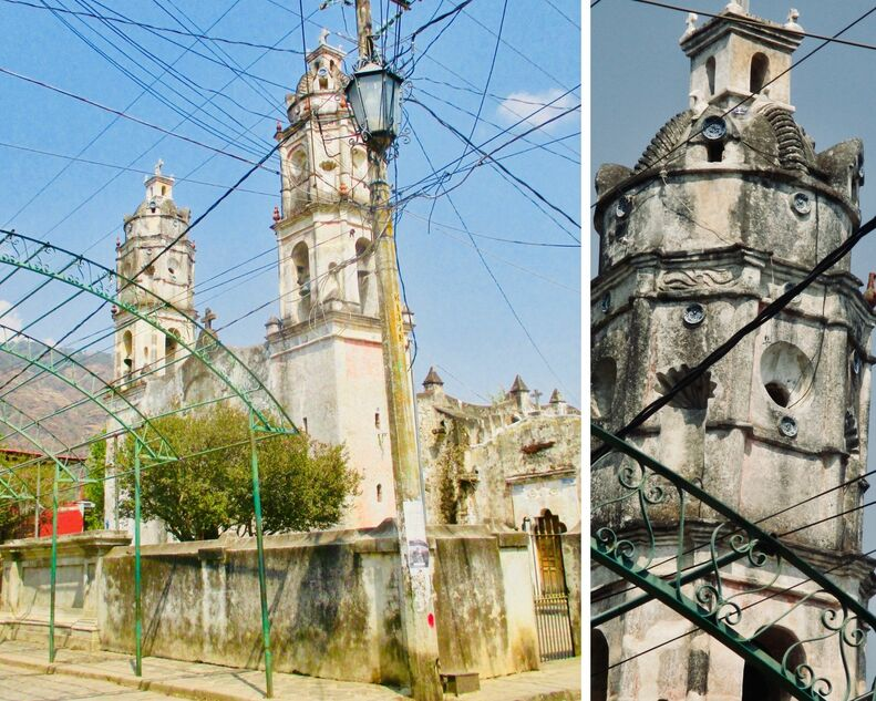 Church in left side of image with close up on right.  A very old and crumbling structure with arched openings to bells in the towers and other sections that probably used to contain statues. Overhead lots of electrical lines. Green metal hoops in the street to hold tarps for festivals.