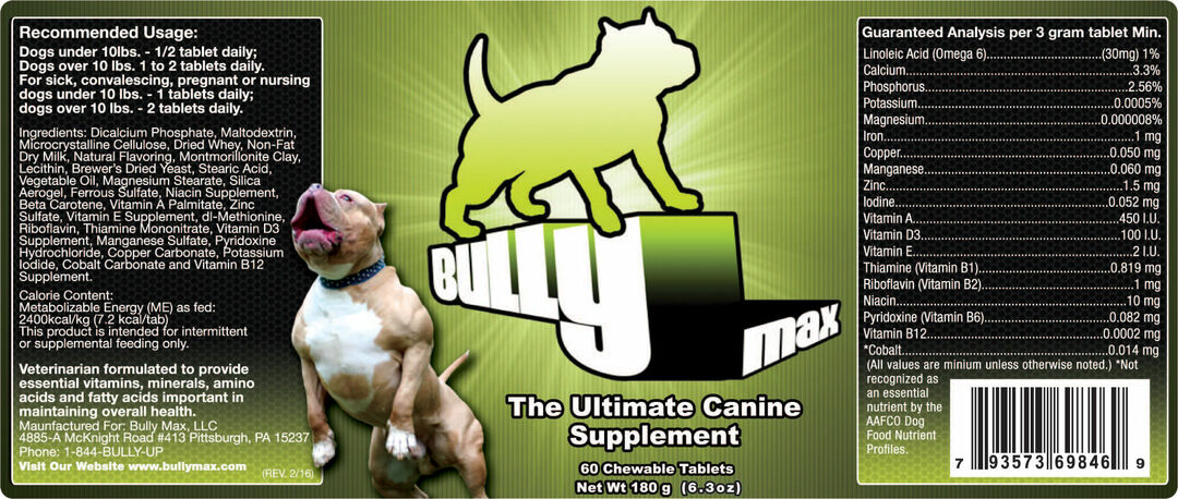 Bully Max Europe ingredients
