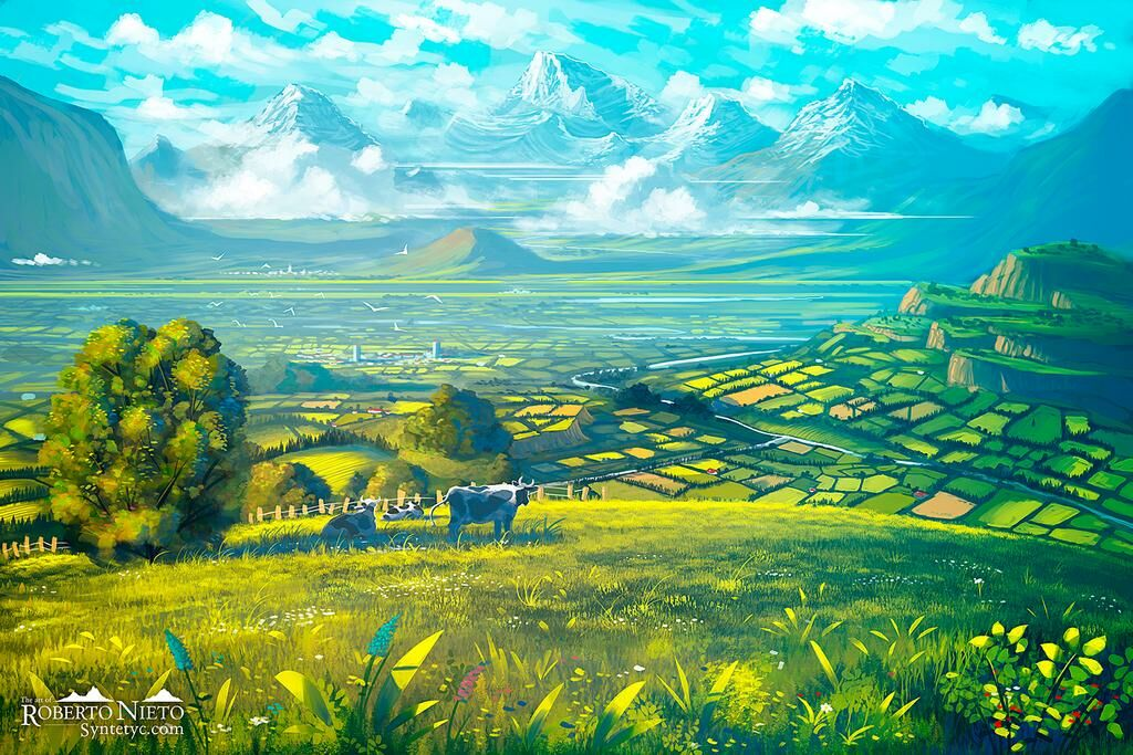 Landscape illustration of a majestic valley. By Roberto Nieto - Syntetyc.com