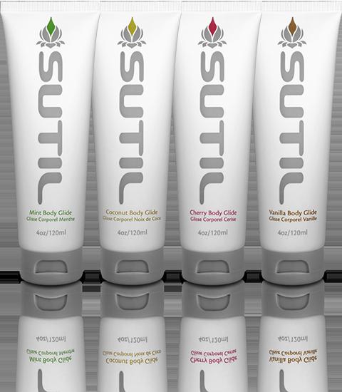 SUTIL flavoured personal lubricants, organic mint, organic cherry, organic vanilla, organic coconut