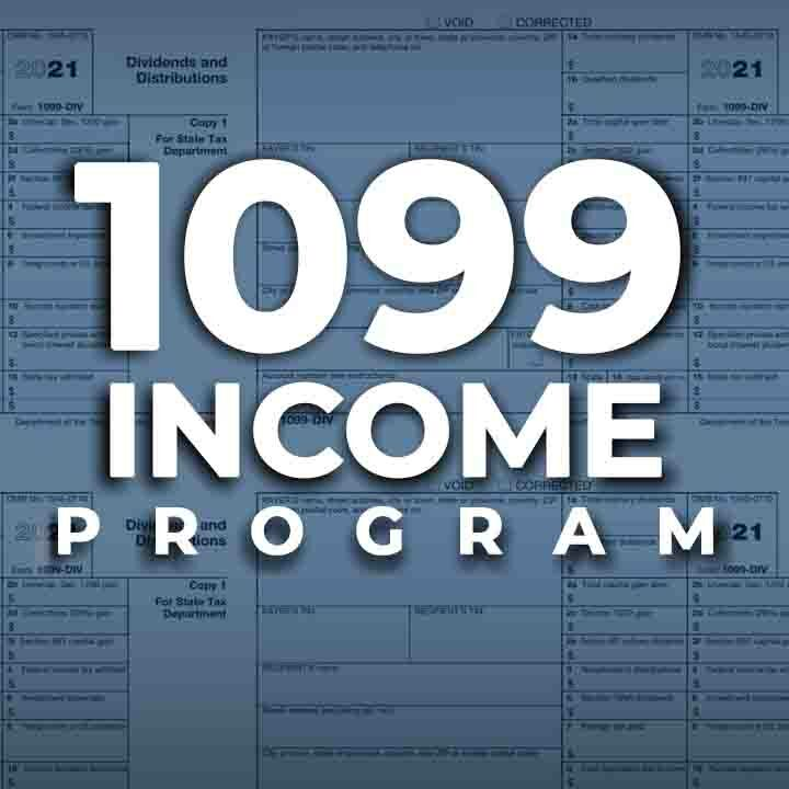 1099 Income Program text over a tile background image consisting of multiple blank 1099 forms