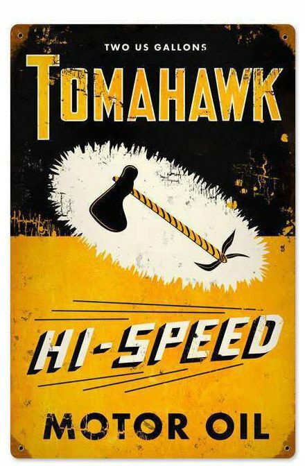 A mid century americana garage sign for Tomahawk oil from the 50's or 40's