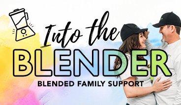 Into the Blender image - graphic for blended families connect group