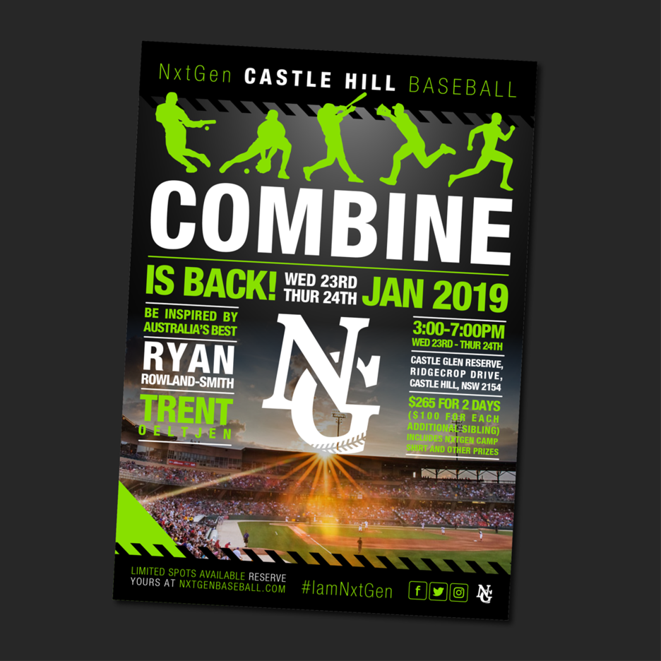 Promotional flyer Graphic Design for NxtGen Baseballs Combine Training program. Designed in Port Macquarie.