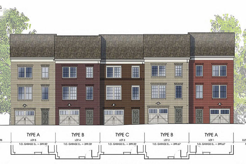 Architectural renderings of back of north view of units 1-5, showing the garage doors and levels.