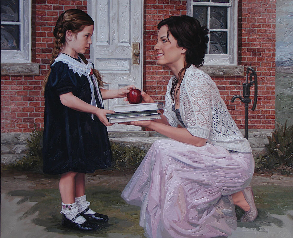 A female figurative oil painting and limited edition prints that are part of artist Danny Day's Romantic Realism Series.  The prints are published exclusively by the Danny Day Studio.