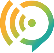 This is the logo for the business storytelling firm, communicate4IMPACT.  The logo combines a quote symbol and a signal symbol.