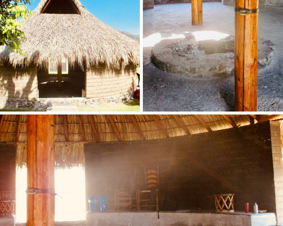 Top left shows the Tuki from outside, and is the same as the introductory photo. Top right is the inside with circular fire pit. Bottom has two entrances with a cement bench between them.