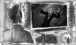 A hand drawn storyboard using ink and marker shading. storyboardnyc.com