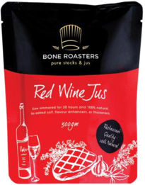 The retail packaging for Red Wine Jus.