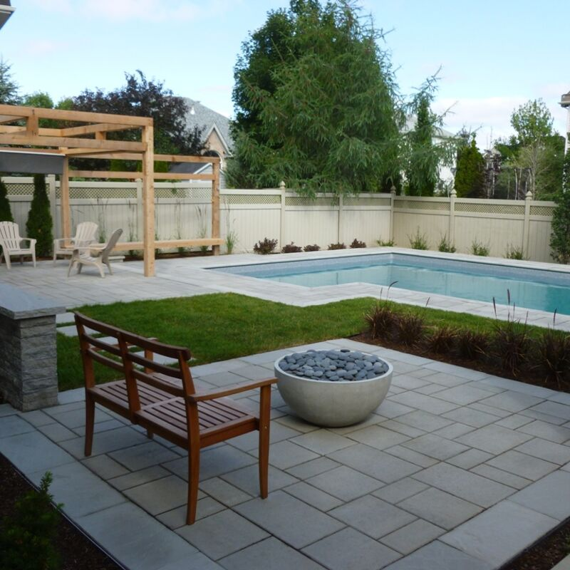 Backyard space with swimming pool and patio