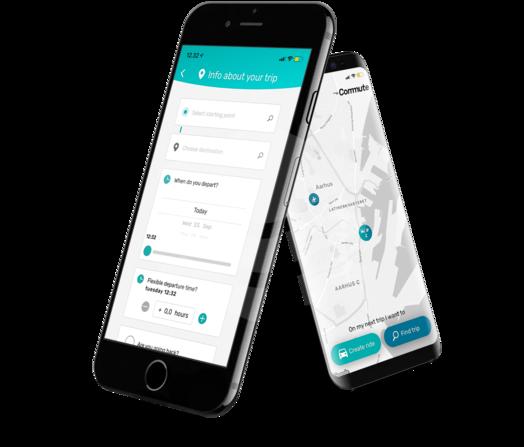 Commuteapp displayed on phones