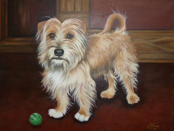 Oil Painting of a wire haired Terrier dog by Jane Indigo Moore