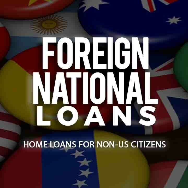 Foreign National Home Loans text over a background image of a pile of round buttons each containing a flag from a different international country