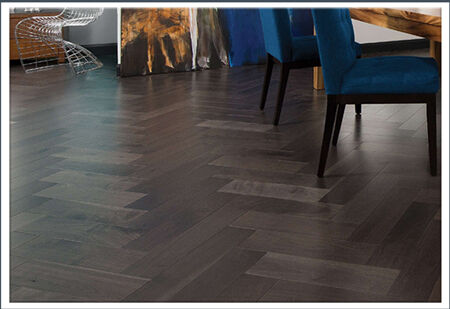 Herring bone hardwood floor pattern by Horizon Interiors