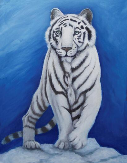 White tiger on a mountain