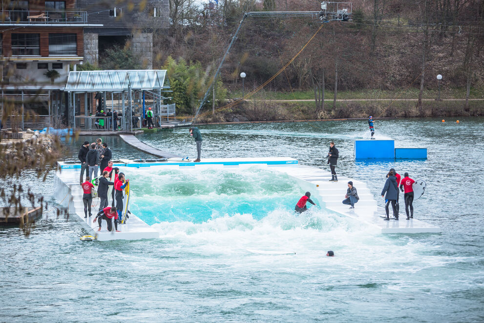 The world's first floating surf pool wave machine at Surf Langenfeld.