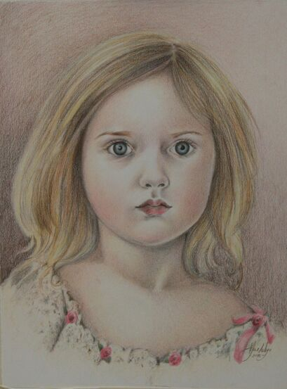 Drawing of a young child in color pencils by Jane Indigo