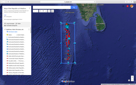 This is a mniature version image of the larger Google supported map of the Maldives available inside AsiaReport.com