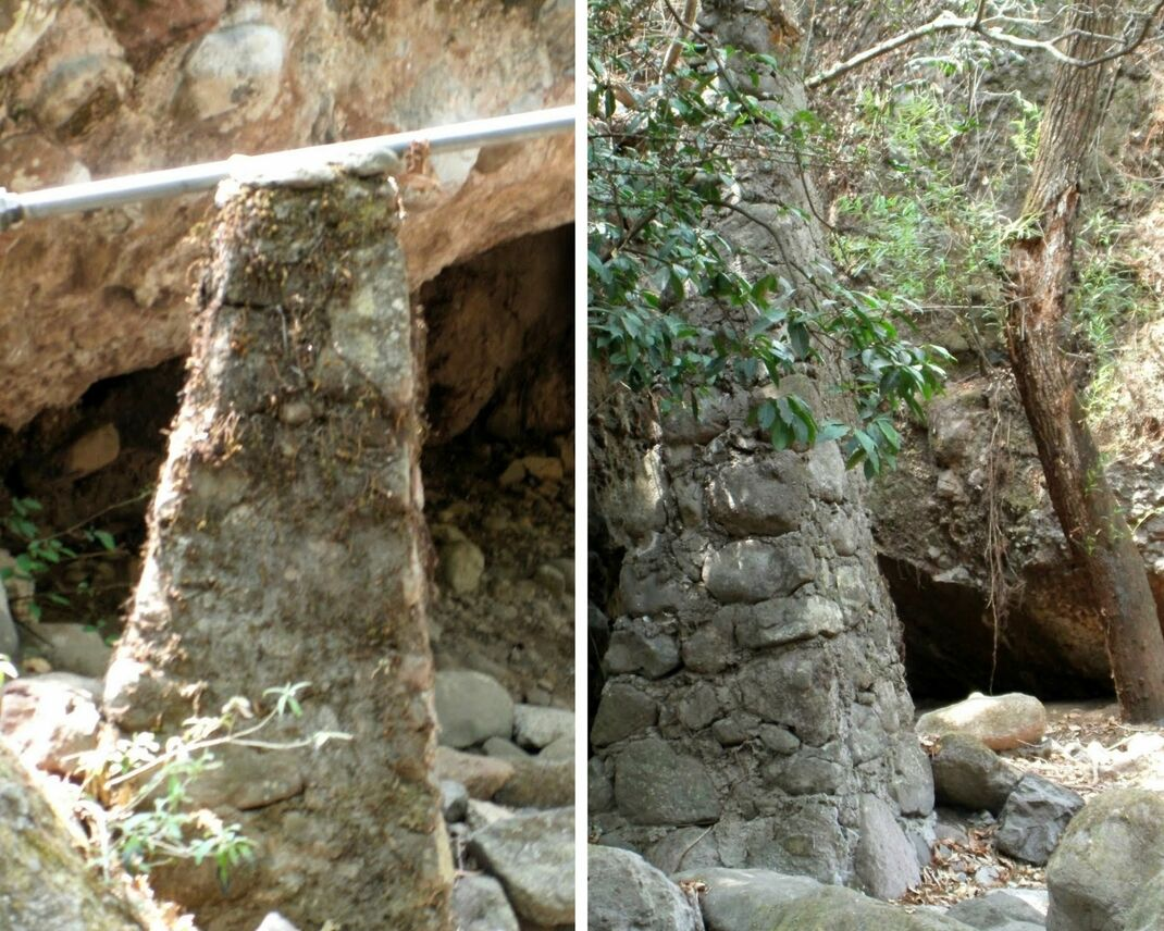 We are back to color again. Left photo shows a tall narrow structure made from bricks and mortar with a white pipe running on top of it. The right photo shows this structure closer up and more clearly, including some of the forest tree growth.