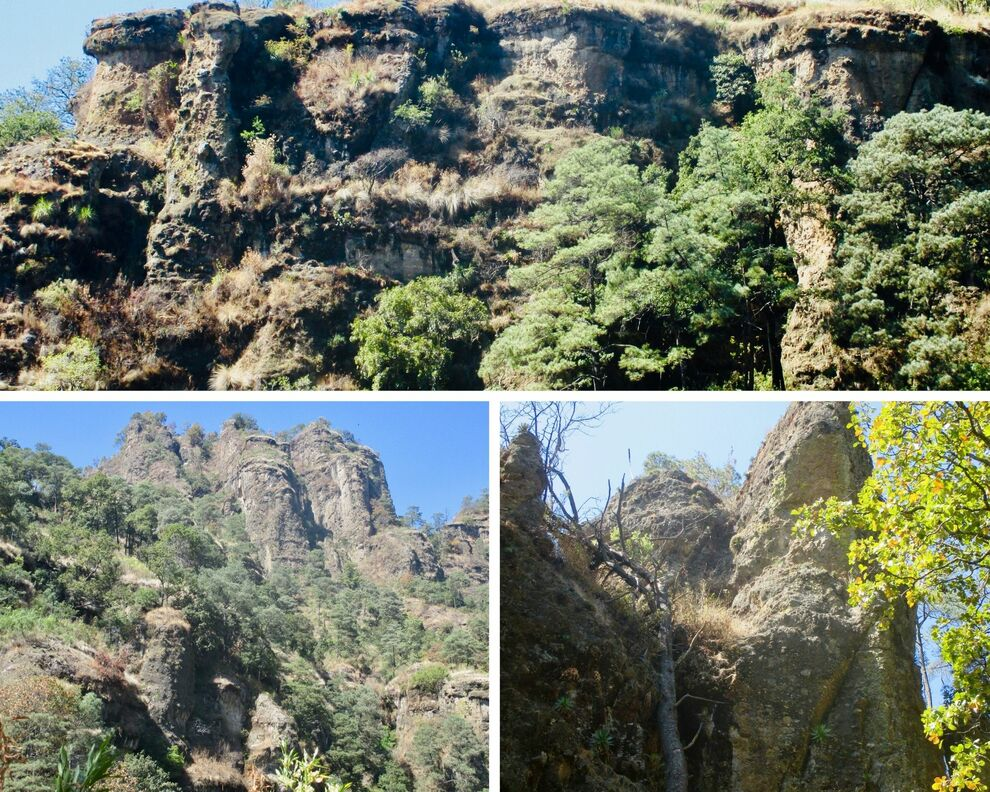Top photo shows a large plateau formed by the joining together of many individual columns. Bottom photos have clusters of more pointed spires. All photos have wilderness vegetation.