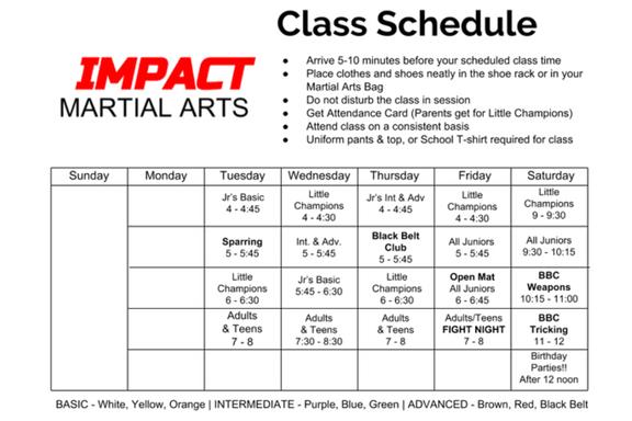 Current class schedule