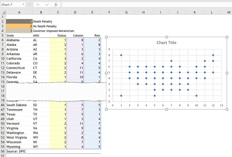 How to create a Grid Map with circles in Excel 4