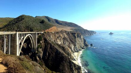 The Bixby bridge in Big Sur California is incredibly popular with cyclists