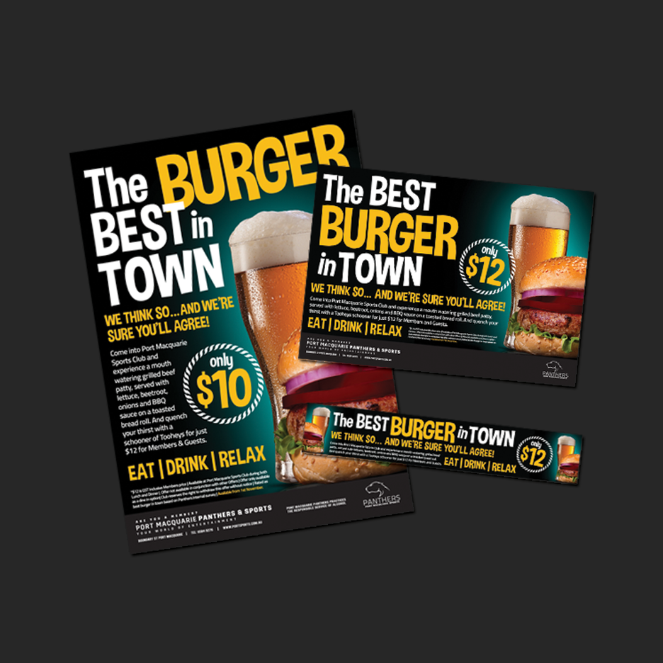 Point of Sale Design for Port Macquarie Panthers Best Burger in Town Promotional Suite - Pull Up Banner Design, A2 Poster Design, A3 Poster Design, Billboard Design.