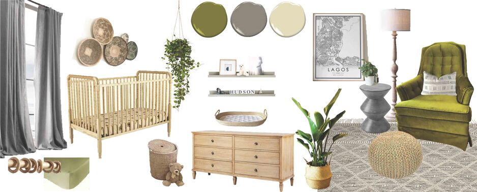 Nursery design on a mood board showing fixtures and finishes and furniture