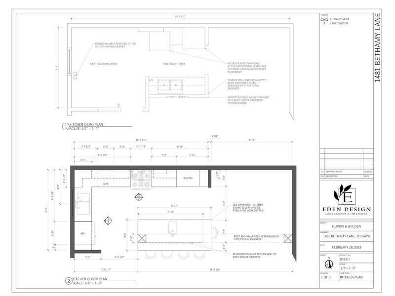 Demolition plan and kitchen design AutoCAD plan drawing