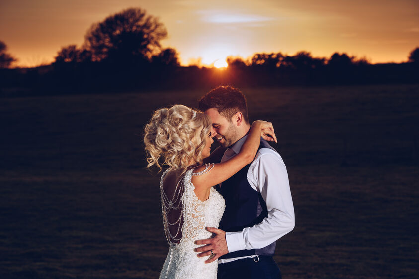 Sunset wedding photography at Oldwalls Gower