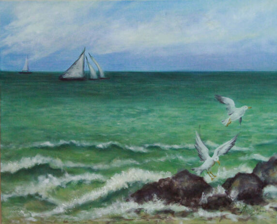 Oil painting showing sea, waves and sailing boats