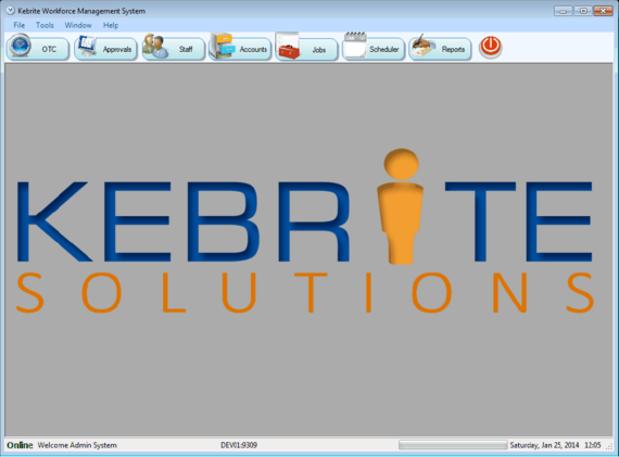 Kebrite Infor VISUAL Main Screen