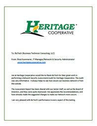 BizTech security assessment testimonial from Heritage Co-op