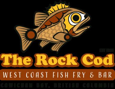 "Proprietary stylized Coast Salish fish over text that reads ""The Rock Cod"" - West Coast Fish Fry & Bar - Cowichan Bay, British Columbia"
