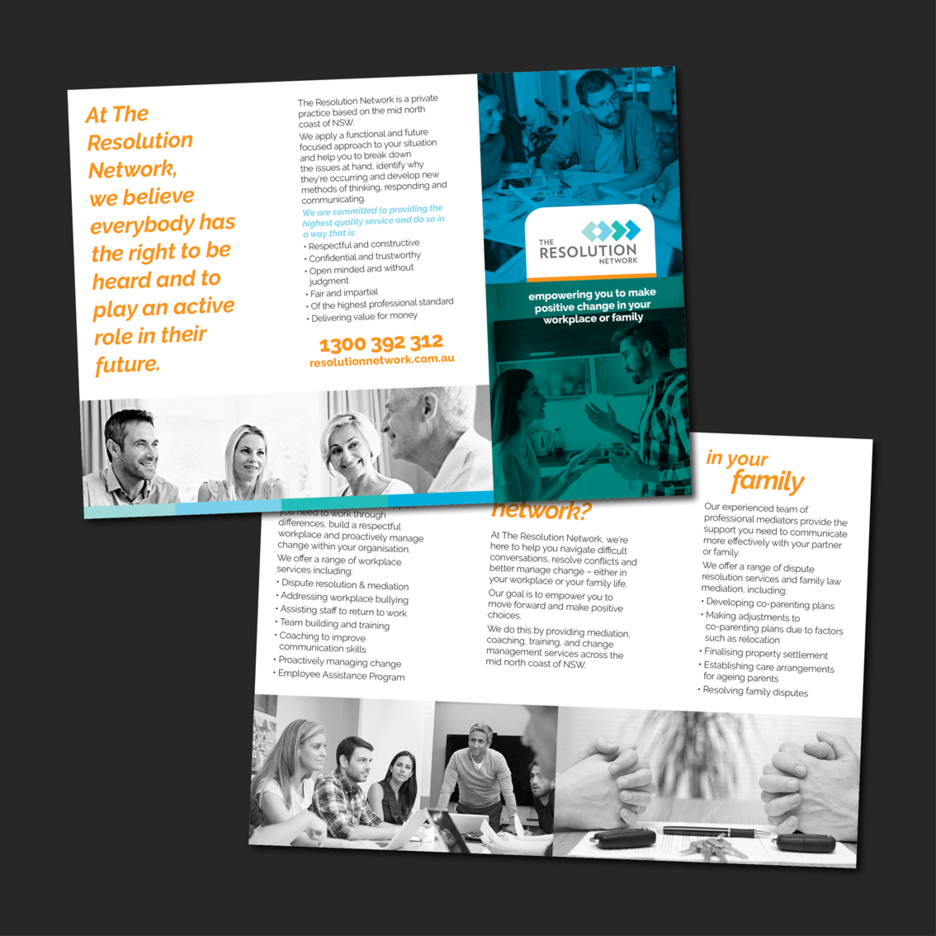 Graphic Design for a Promotional brochure for The Resolution Network, a mediation and dispute resolution solution based on the Mid North Coast of NSW.