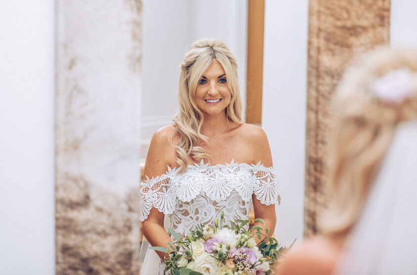 Bridal preperations, Jade on the morning of her wedding. Photography by Karl Baker Swansea