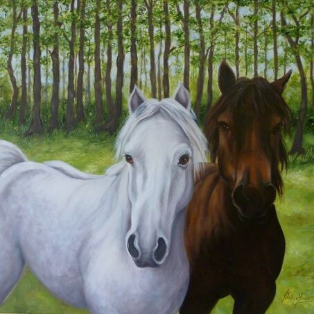 Oil painting of two ponies in forest