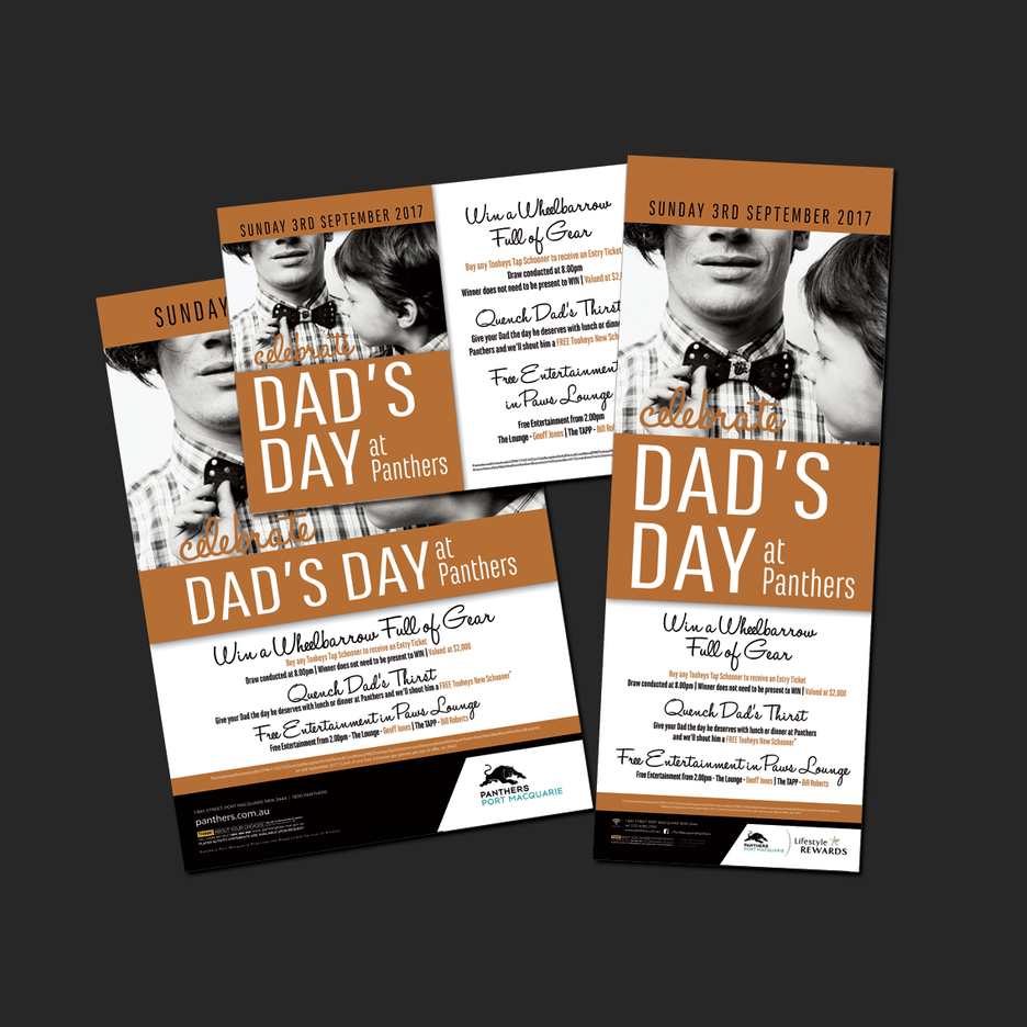 Point of Sale Design for Port Macquarie Panthers Fathers Day Celebration Promotional Suite - Pull Up Banner Design, A2 Poster Design, A3 Poster Design, Billboard Design.