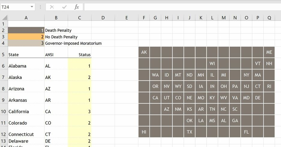 How to create a Grid Map in Excel 5