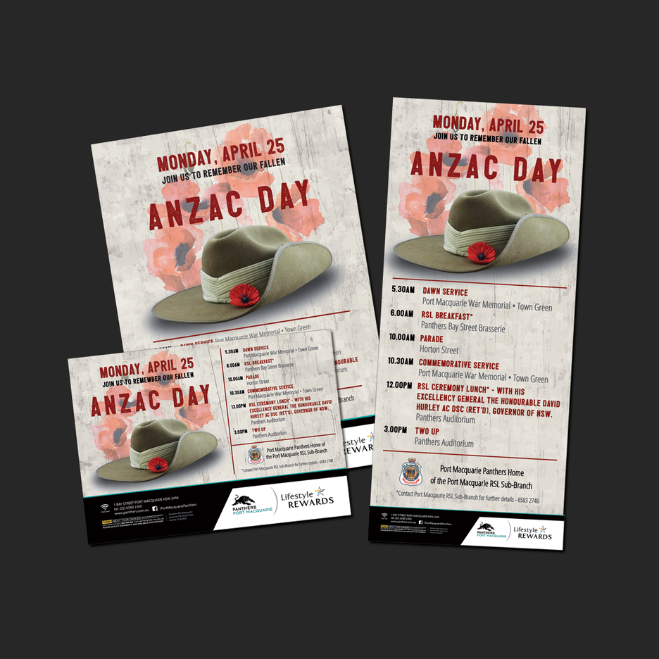 Point of Sale Design for Port Macquarie Panthers ANZAC Day Celebration Promotional Suite - Pull Up Banner Design, A2 Poster Design, A3 Poster Design, Billboard Design.