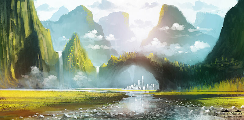 Fantasy illustration about kingdom between mountains. By Roberto Nieto - Syntetyc.com